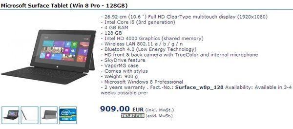 価格判明!「Surface Pro」の64GBは7万円、128GBが7.8万円