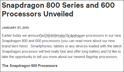 Qualcomm、新型クアッドコア2.3Ghz「Snapdragon 800」はLTEとWi-Fi ac 対応