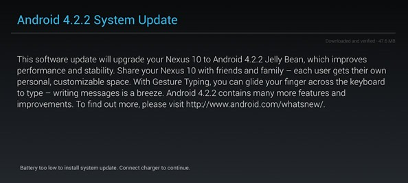 Android4.2.2 配信開始、Nexus7 / Nexus10 / GalaxyNexus 向け
