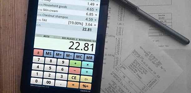 価格 129円、計算履歴を表示できる電卓「Office Calculator Pro」の試用レビュー / Androidアプリ