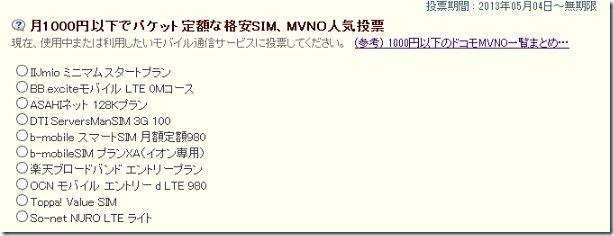 月1000円以下でパケット定額な格安SIM、MVNO人気投票を開始しました。
