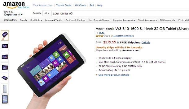 8インチWindows8タブレット『Acer Iconia W3』が米Amazonで予約開始、価格ほか