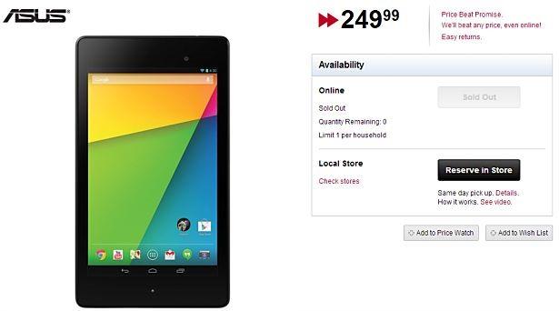 新型Nexus 7 (2013)、カナダのBestBuy他で販売開始