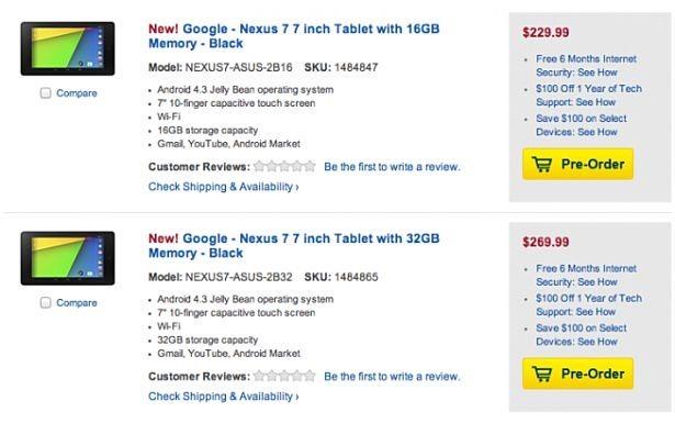 第2世代Nexus 7、米BestBuy予約開始「価格とスペック表」