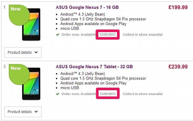 第2世代Nexus 7の日本発売は9月頃か、英ネットショップが9/13発売へ