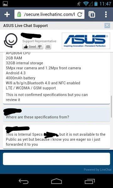 第2世代『Nexus 7』のスペックと発売時期、何故かチャットで回答したらしい