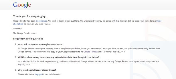 Googleリーダー終了、RSSフィードは7月15日まで入手可能