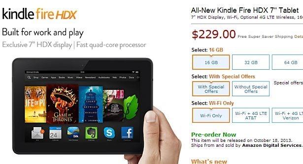 新型『Kindle Fire HDX 7』が予約開始、10/18発売―スペック表と価格