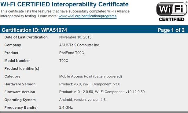 ASUS PadFone mini T00C-Wi-Fi-cert