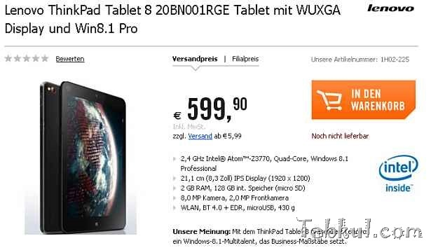 Lenovo、『ThinkPad 8』が海外ショップに登場―価格とスペックほか