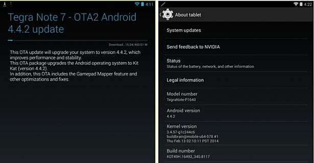 Tegra Note 7、Android 4.4.2 アップデート配信