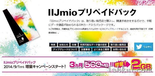 IIJmioのプリペイドSIM、高速データ通信容量が4倍に―9/1より500MBから2GBへ増量