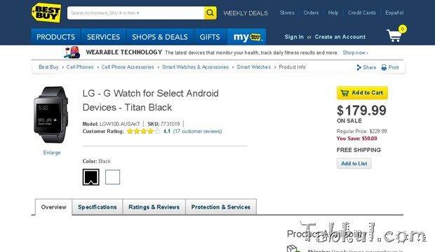 BestBuyが初代『LG G Watch』を約5千円値下げ―179.99ドルで販売中