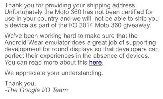 Google I/O特典の『moto 360』、日本配送されず―国内発売は絶望的か