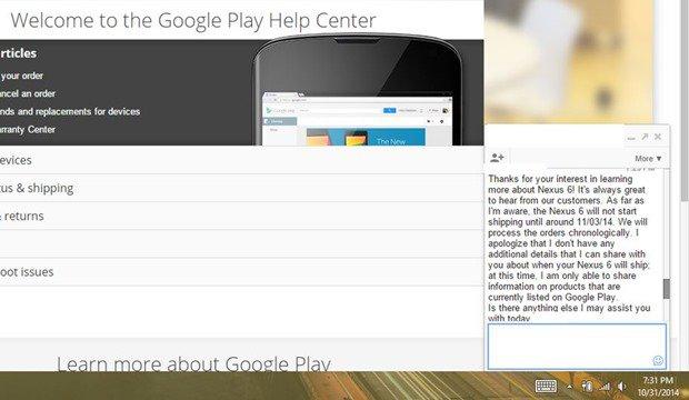 米国では『Nexus 6』が11/3出荷開始か、Google Playヘルプセンサーの回答が話題に