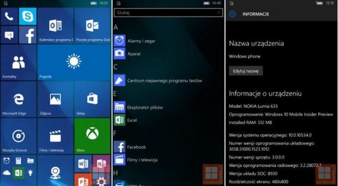 Windows 10 Mobile(ビルド10534)のスクリーンショットがリーク