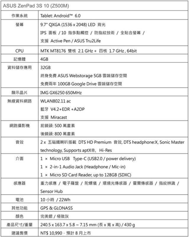 ASUS-ZenPad-3S-10-Z500M-spec