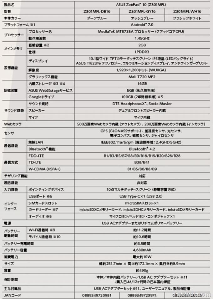 asus-ZenPad-10.Z301MFL.spec