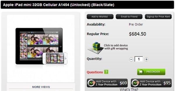 iPad mini SIMフリー版の予約受付開始、価格は569.50ドル(約4.57万円)から