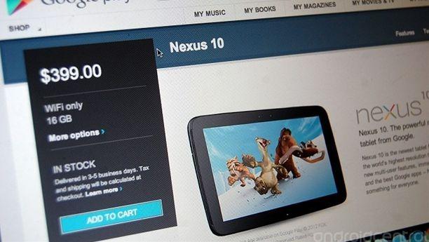 米で「Google Nexus 10」の在庫復活、日本の分は?