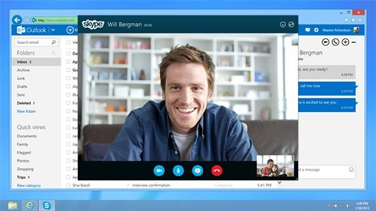 Microsoftが「Outlook.com」にSkype組込み開始、ブラウザからビデオ通話など対応へ