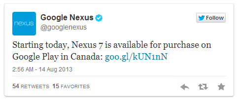 Nexus7 (2013)、カナダの Google Play で販売開始