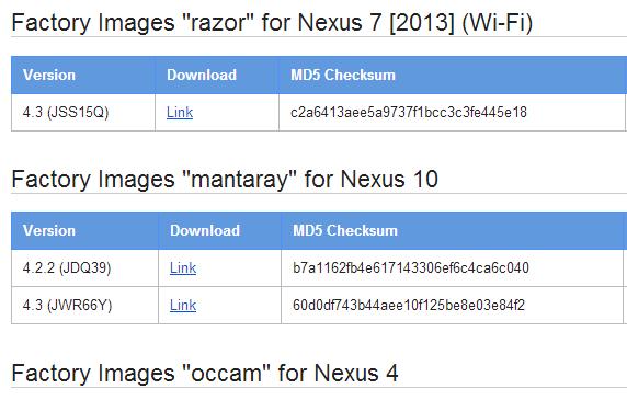 新型Nexus 7含む5機種にAndroid 4.3 新ビルド(JSS15Q) ファクトリーイメージが公開