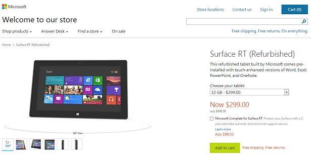米Microsoft Store、『Surface RT』のリフレッシュ版を販売へ