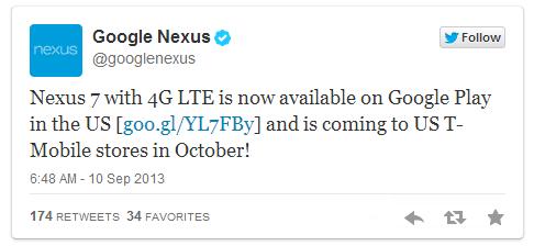 Nexus7(2013)LTEモデル、米Google Play で販売開始―価格やバンドほか