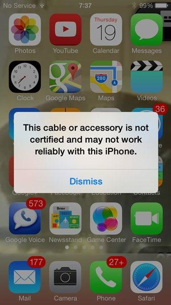 『iOS7』は非公認Lightningケーブル利用不可か