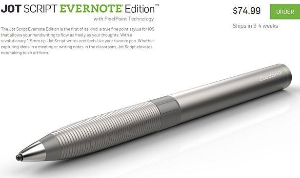 極細1.9mmのスタイラスペン『Jot Script Evernote Edition』が10月発売へ