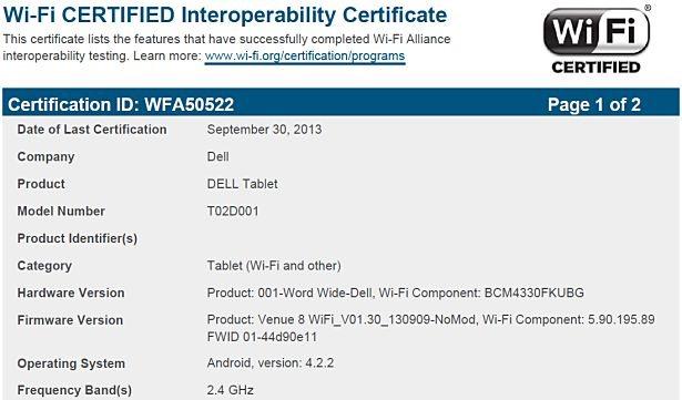 DELL製Androidタブレット『Venue 8(T02D001)』がWi-Fi通過