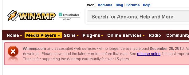 Winamp、来月で配布終了しサイト閉鎖へ