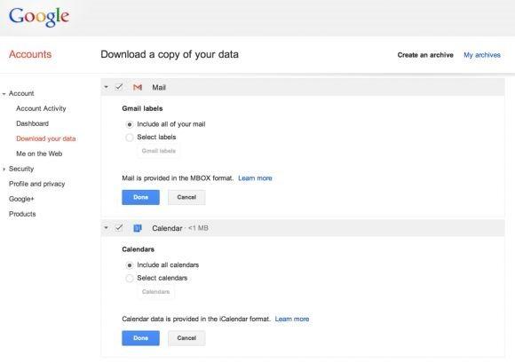 Google、Gmail/Googleカレンダーのエクスポート(データ書き出し)対応へ