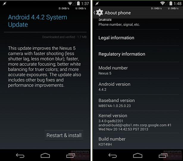 Google、Nexus向け「Android 4.4.2 (KOT49H)」配信開始
