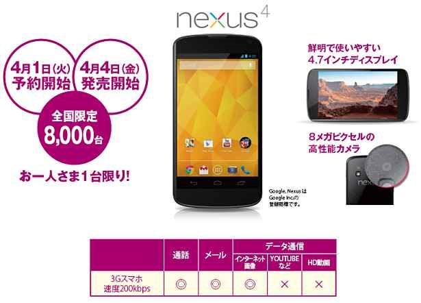イオンのスマートフォン、『Nexus 4』を8000台限定4/4発売へ