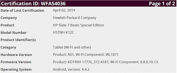 『HP Slate 7 Beats Special Edition』がWi-Fi認証を通過、Android4.4.2搭載