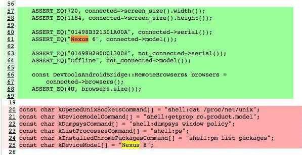 Nexus6/Nexus8の名前がChromiumプロジェクトに登場