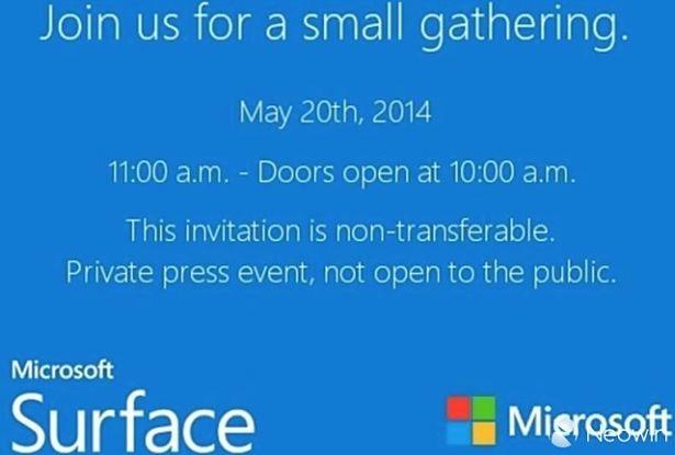 Microsoft、「Surface」イベントを5/20開催―Surface mini発表を示唆