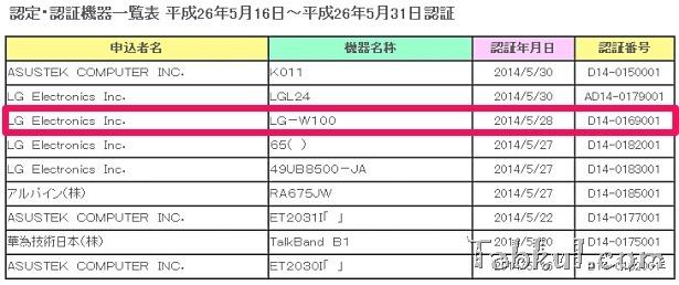 『LG G Watch』(LG-W100)の日本発売が濃厚に、JATE通過