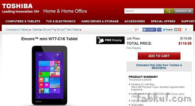 TOSHIBA、最新7型Windows『Encore mini(WT7-C16)』を約120ドル(1.28万円)で発売―スペックほか