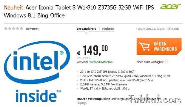8型Windowsタブレット『Acer Iconia Tab 8 W1-810』予約開始―価格と判明スペック、RAMの謎ほか