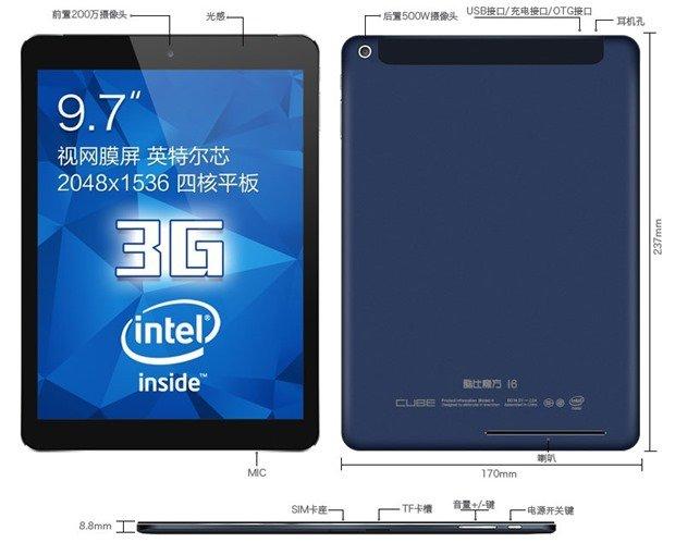 約1.8万円でSIMカードスロット+GPS/9.7型IGZO/Retina解像度『CUBE I6』発表、スペック表ほか―Androidタブレット