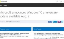Windows 10 Anniversary updateは8月2日リリースか、MSがフライング掲載