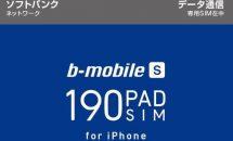 月額190円でソフトバンクiPhoneが使えるデータSIM「b-mobile S 190PadSIM」発表