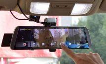 ルームミラー固定でリアモニターにも、サンコーから前後ドライブレコーダー発売・実際の動画