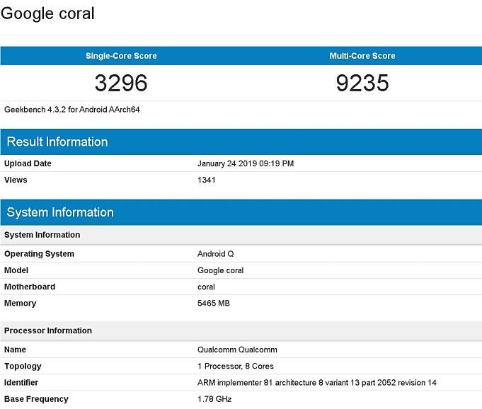 Google-Coral-Geekbench