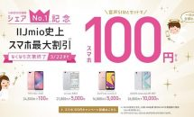 IIJmioがスマホ100円キャンペーン!数量限定で4機種が対象、さらに音声SIM月300円も開始
