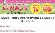 (終了)本日終了に変更、IIJmioの月間6GBが月520円「eSIM楽しむキャンペーン」開催中