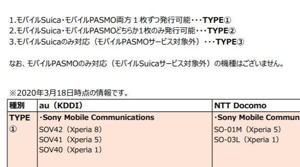 モバイル pasmo 対応 機種
